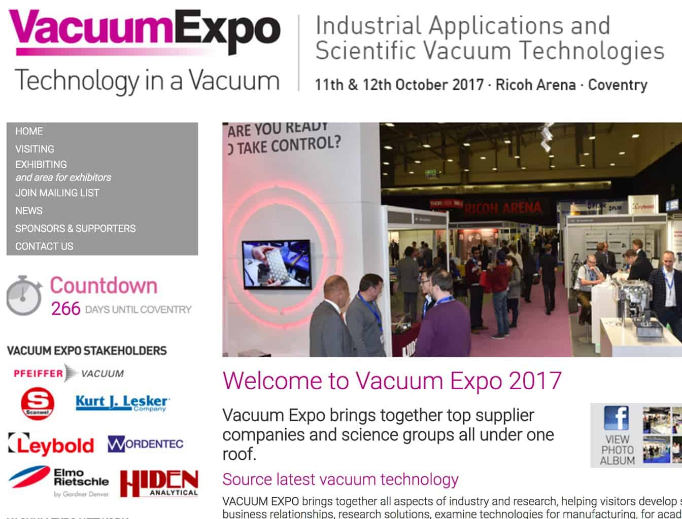 We are exhibiting at the Vacuum Expo 2017