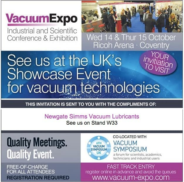 Newgate Simms to exhibit at Vacuum Expo 2015 Coventry